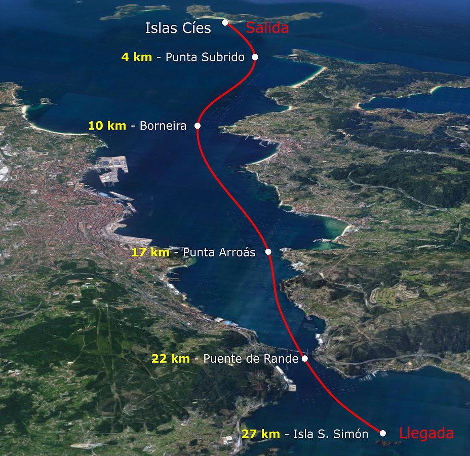 El recorrido: 27km entre Islas Cíes y la isla de San Simón